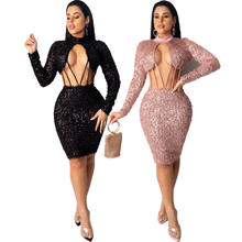 FM-CY8215 Hot elastic sequin sexy fashion pleat night party middle long dress