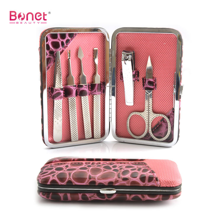BMS0129A Premium Stainless Steel Nail Clipper Kit Cuticle Trimmer 6pcs Manicure Tool Set