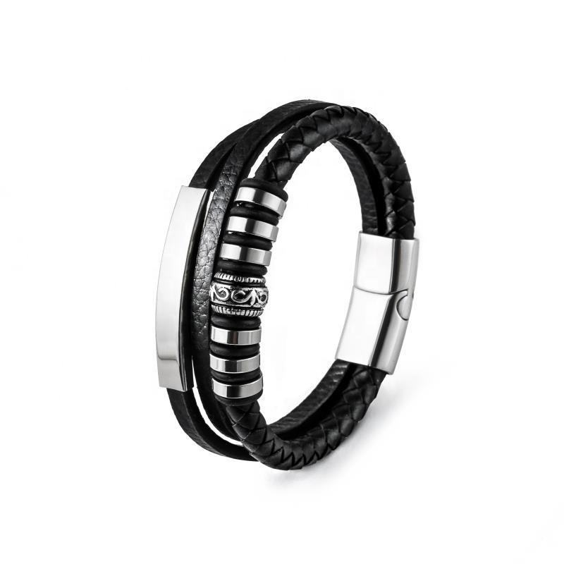 3 layer leather rope stainless steel woven leather bracelet with magnet buckle