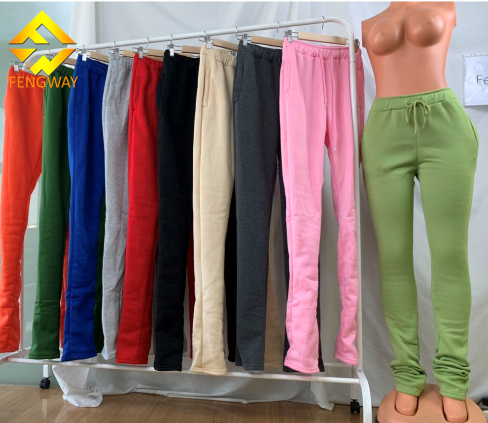 XS-3XL Woman Clothing Vendor Mid Waist Thick Stacked Pants Legging Thick Stacked Sweatpants Women