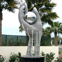 Abstract hand hold a ball statue large stainless steel hand sculpture