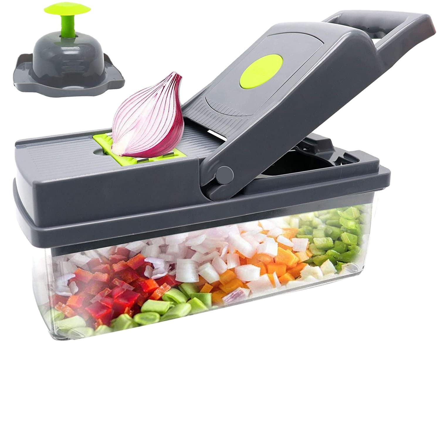 Multi-Function 14 In 1 Food Peeler With Container 8 Blades Onion Slicer Dicer Kitchen Food Vegetable Chopper Cutter