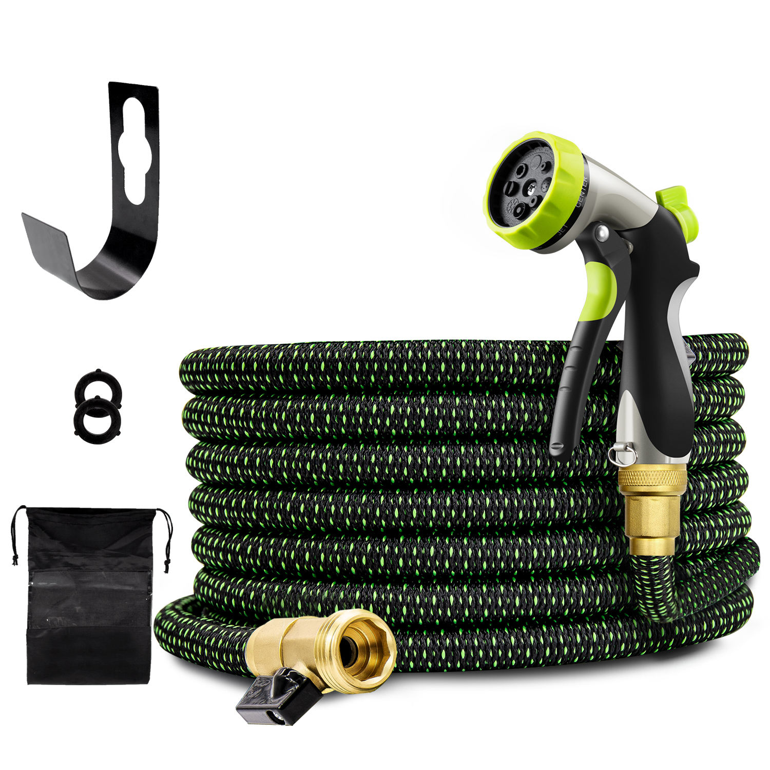 "Newest Double-Color 50FT 100FT Strength 3750D Expandable Flexible Magic Garden Water Hose with 3/4"" Solid Brass Connectors"