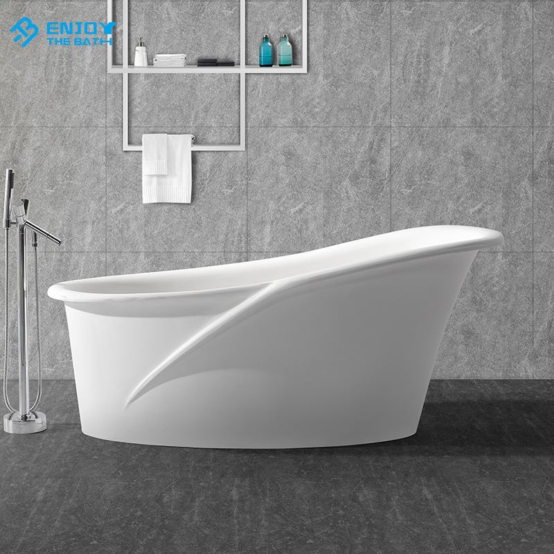 Bathroom modified acrylic solid surface stone smooth wide side platform streamline relief freestanding bathtub