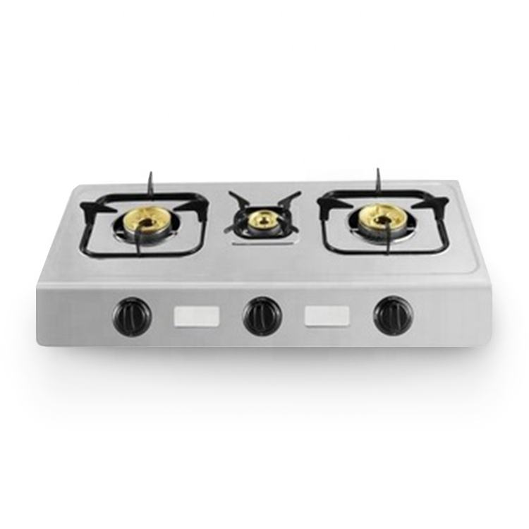 3 burners LPG gas cooker with brass burner cap and stainless steel body