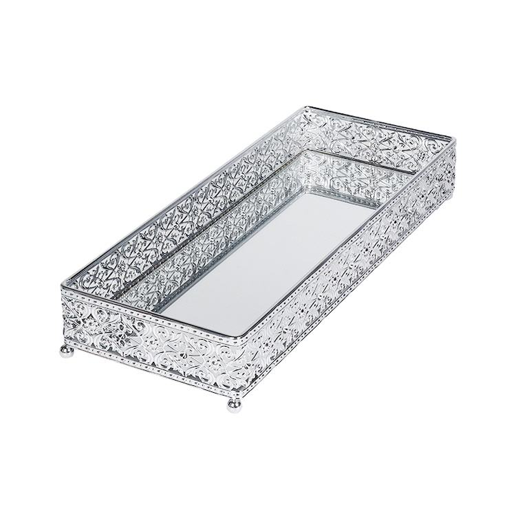 Custom Cheap Wedding Coffee Tabletop Perfume Vanity Home Decorative Silver Rectangular Metal Mirror Serving Tray