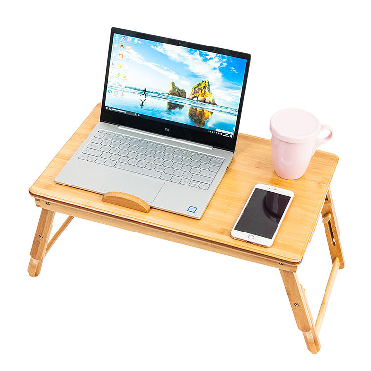 Aligan New Bamboo Adjustable Height Portable Folding Bed Tray Study Desk Laptop Table