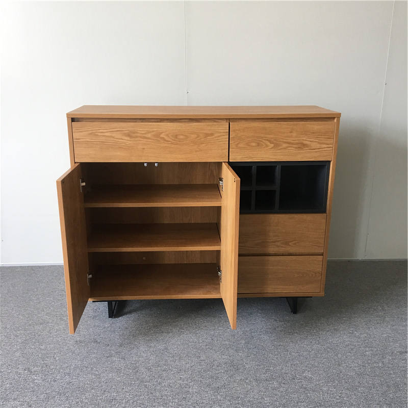Metal Industrial Living Room Cabinets with 3 drawers Wooden furniture