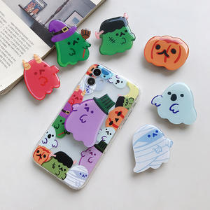custom design Halloween gifts cell phone stand holder sockets grip with Epoxy logo print ring sockets mobile phone holders