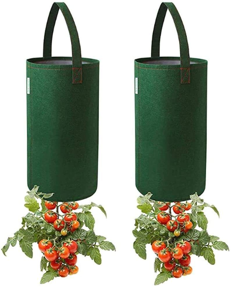 Upside Down Tomato Planter, Felt Hanging Tomato Grow Bag, Multifunction Vegetable Flower Plant Grow Bags with Handles