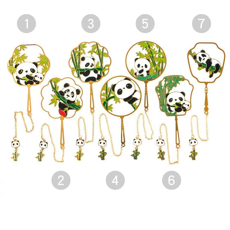Round fan panda bookmark with tassel Chinese style exquisite brass enamel bookmark promotional gifts customized