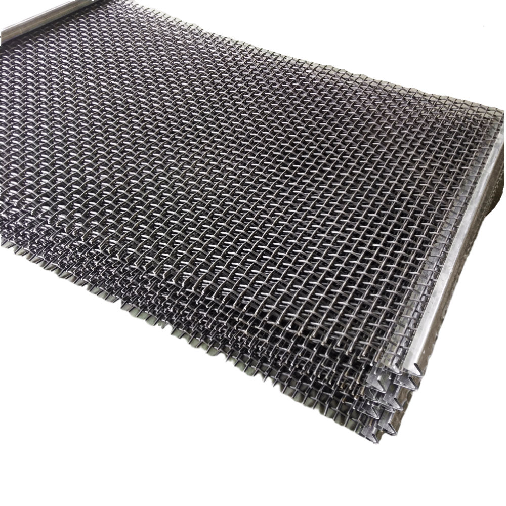 High Tensile 65Mn 45# steel wire Iron wire square Hole crimped wire mining screen mesh