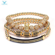 Hot Sale Jewelry 3PCS Luxury Stainless Steel Roman Number Bangle Braided CZ gold Crown Charm Bracelet Set