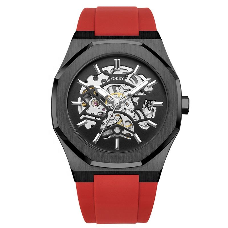 2020 Trend OEM Alloy Skeleton Custom Automatic Mechanical Men Luxury Watches With Silicone Strap