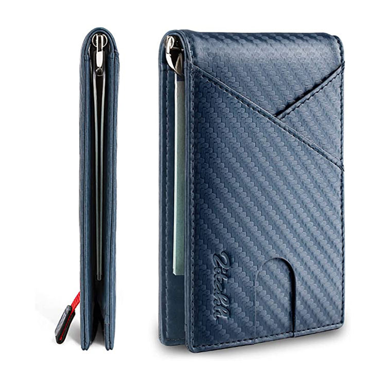 Amazon Amazon Hot Sales RFID Carbon Fiber Pattern Genuine Leather Wallet Slim Smart Money Clip with Card Holder