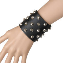 European and American punk exaggerated wide-faced rivet leather bracelet Martial Arts Fighting Performance Cuff Bracers