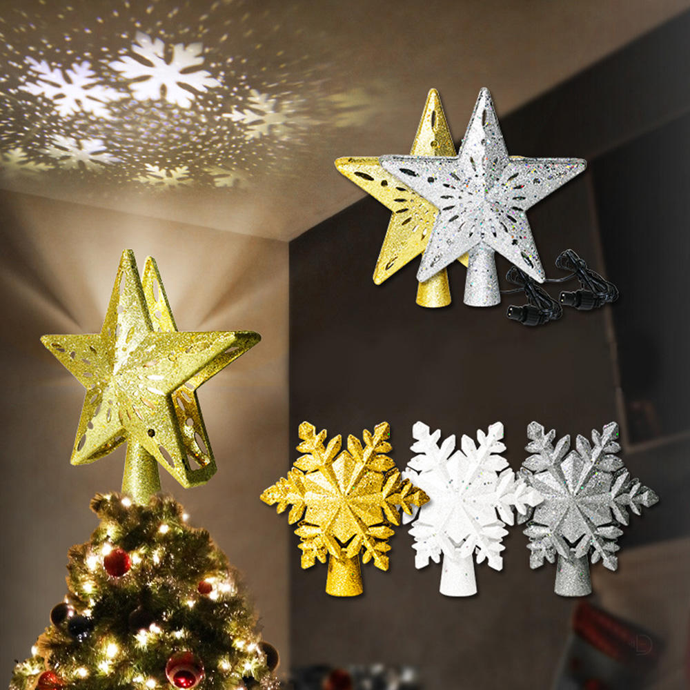 Christmas Tree Topper LED Light Projector Silver Snowflake Rotating 3D Glitter Lighted Sliver Star for Tree Top Decoration