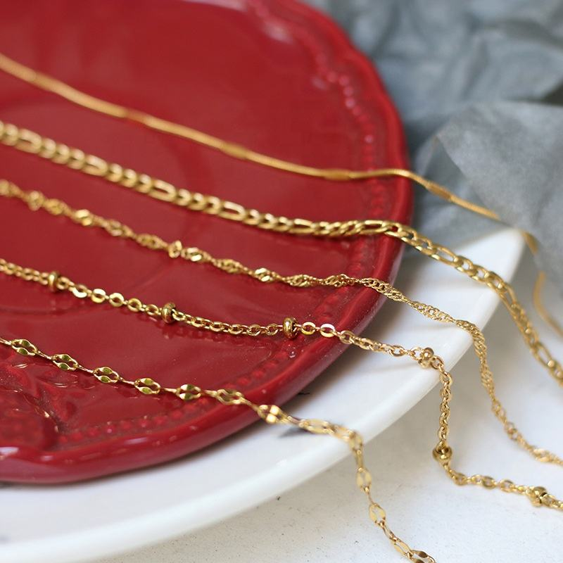 Round bead water wave chain 45 50 60 cm lip chain necklace sweater bare Stainless steel gold necklace does not fade