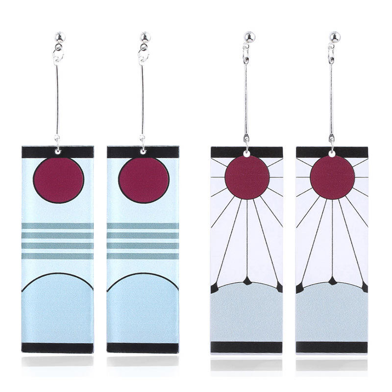 2020 New Style Anime Demon Slayer Kimetsu No Yaiba Kamado Tanjirou Acrylic Earrings