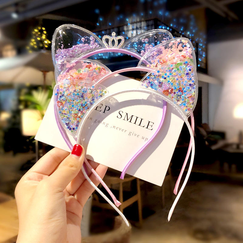 Cute cat ears headband girls baby Korean children sandpaper crown headband hairpin princess hair accessories