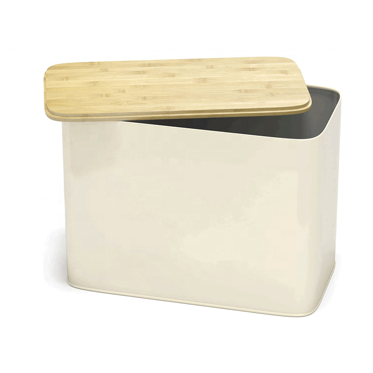 Amazon hot sale storage food container kitchen bamboo bread box bin with bamboo cutting board lid