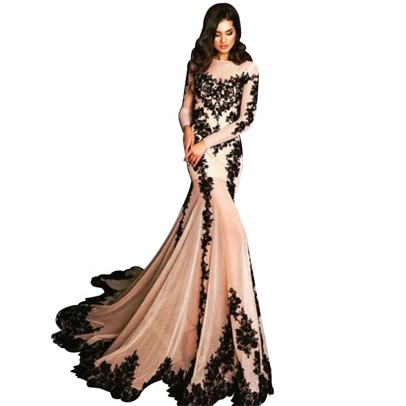 See Through Black Lace Long Evening Dress Mermaid Dusty Pink Tulle Long Sleeve Woman Wear Dresses
