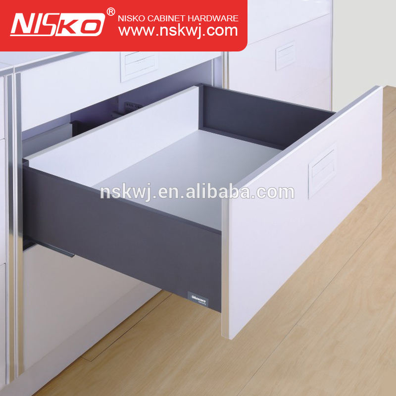145mm height kitchen cabinet black soft close metal drawer system