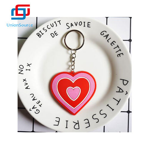 Heart Shape Pvc Keychain For Valentine's Day