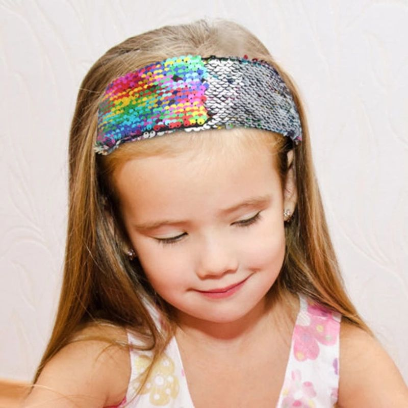 Popular style double-sided flip color-changing sequins ladies' hairbands baby girl hair accessories set