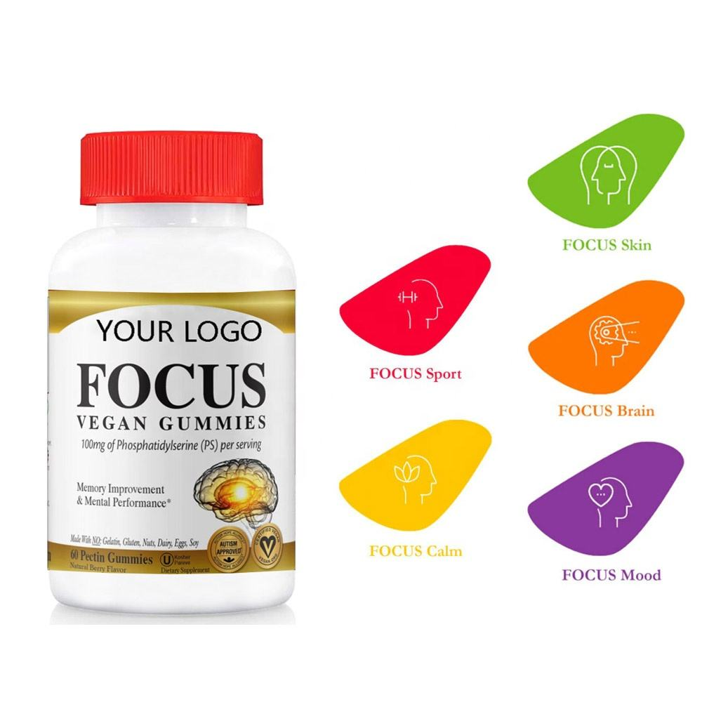 Brain Booster Supplement Improves Memory With Phosphatidylserine PS Nootropics Gummies Capsules