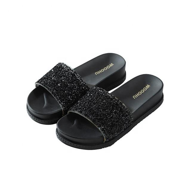 Thick-Soled Fashion Adult Sandals Women Flat-Heeled Flip Flops Shine Style Sandals And Slippers