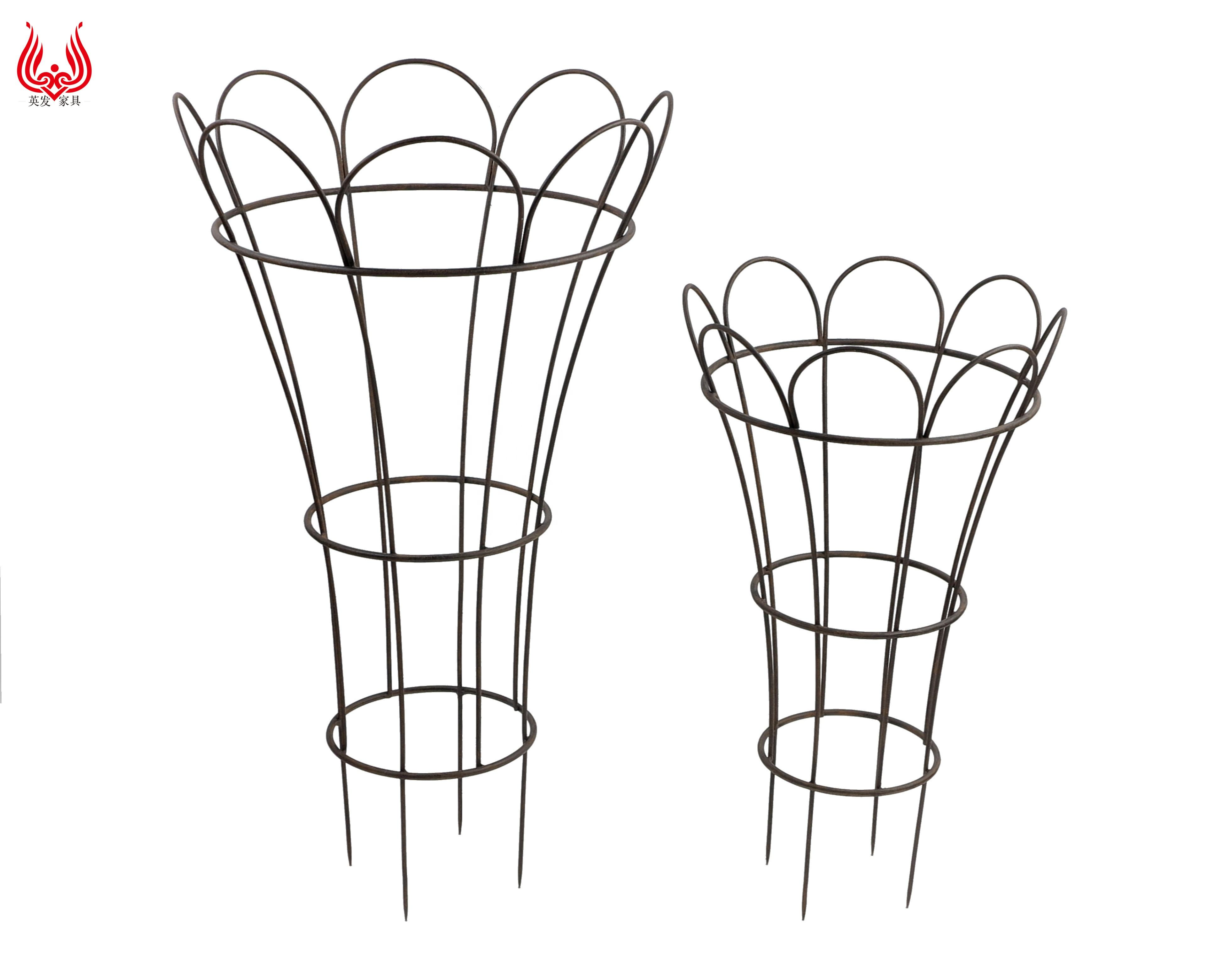 YINFA Factory Direct Sale S/2 Open Garden Trellis Plant Support Metal Stakes for Garden Decor