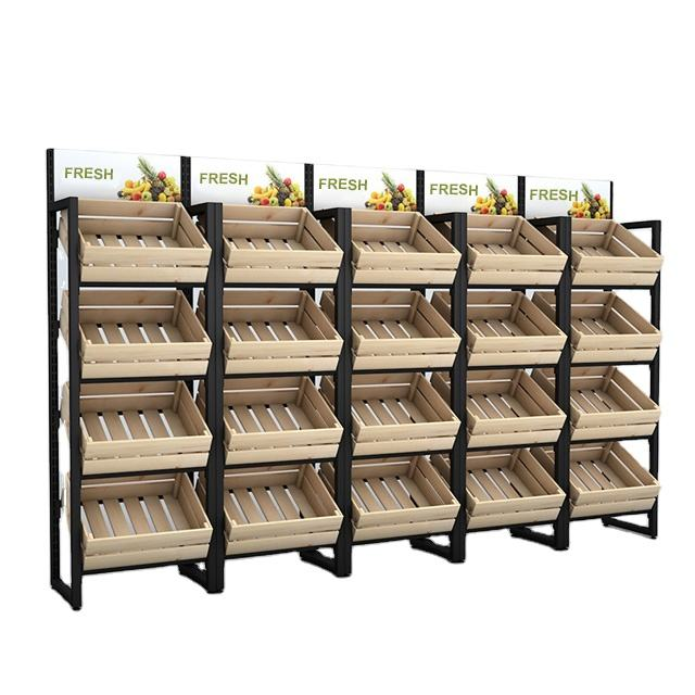 Modern factory price save space shopping market wood fruit vegetable storage display rack stand