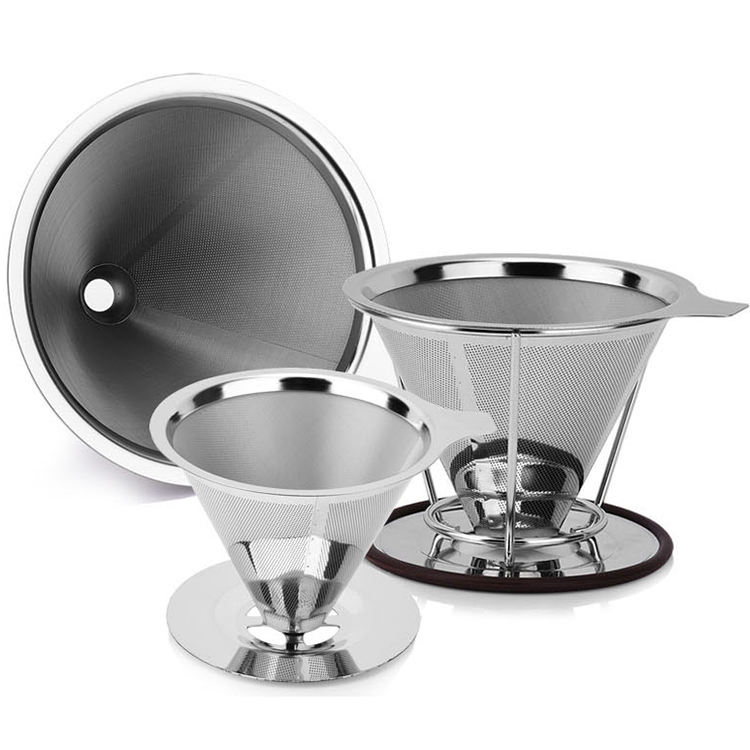 125 mm double layer Food grade stainless steel drip coffee with funnel