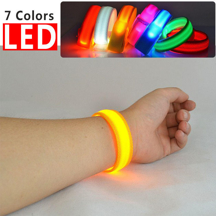 USB Rechargeable Light Up Sport Armband LED Slap Wristband Flashing Bracelets Glow in The Dark for Outdoor Events Party Favors