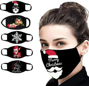 Custom logo black maskes for christmas sublimation printing cotton facemask party merry christmas face maskes adult