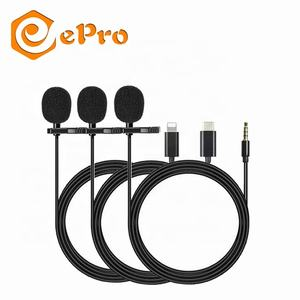 For Lightning/Type C/3.5mm Wired Collar Clip Lavalier Microphone Omnidirectional Audio Mic for iOS Android Mobile Phone Speaker