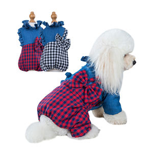 China Manufacture Striped Suspender Pantsuit Dog Clothes Display With Four Legs
