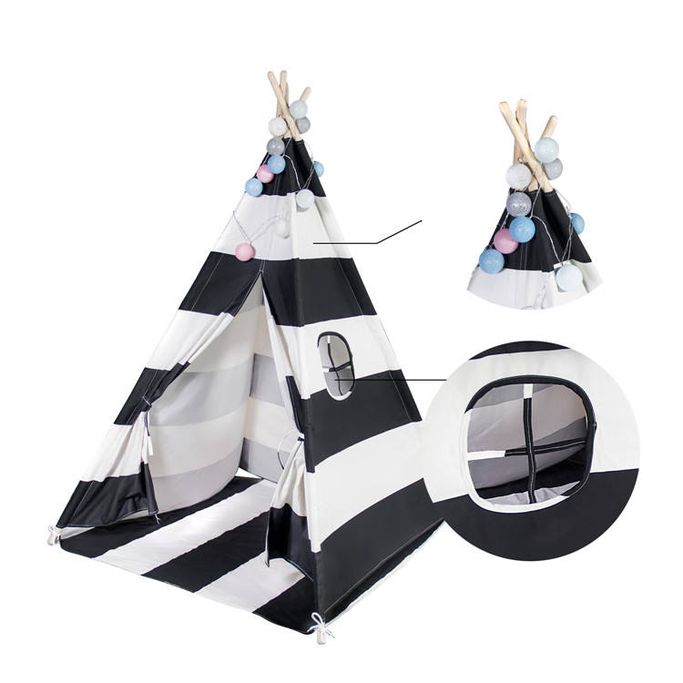 New design stripe kids play tent children playhouse indian teepee