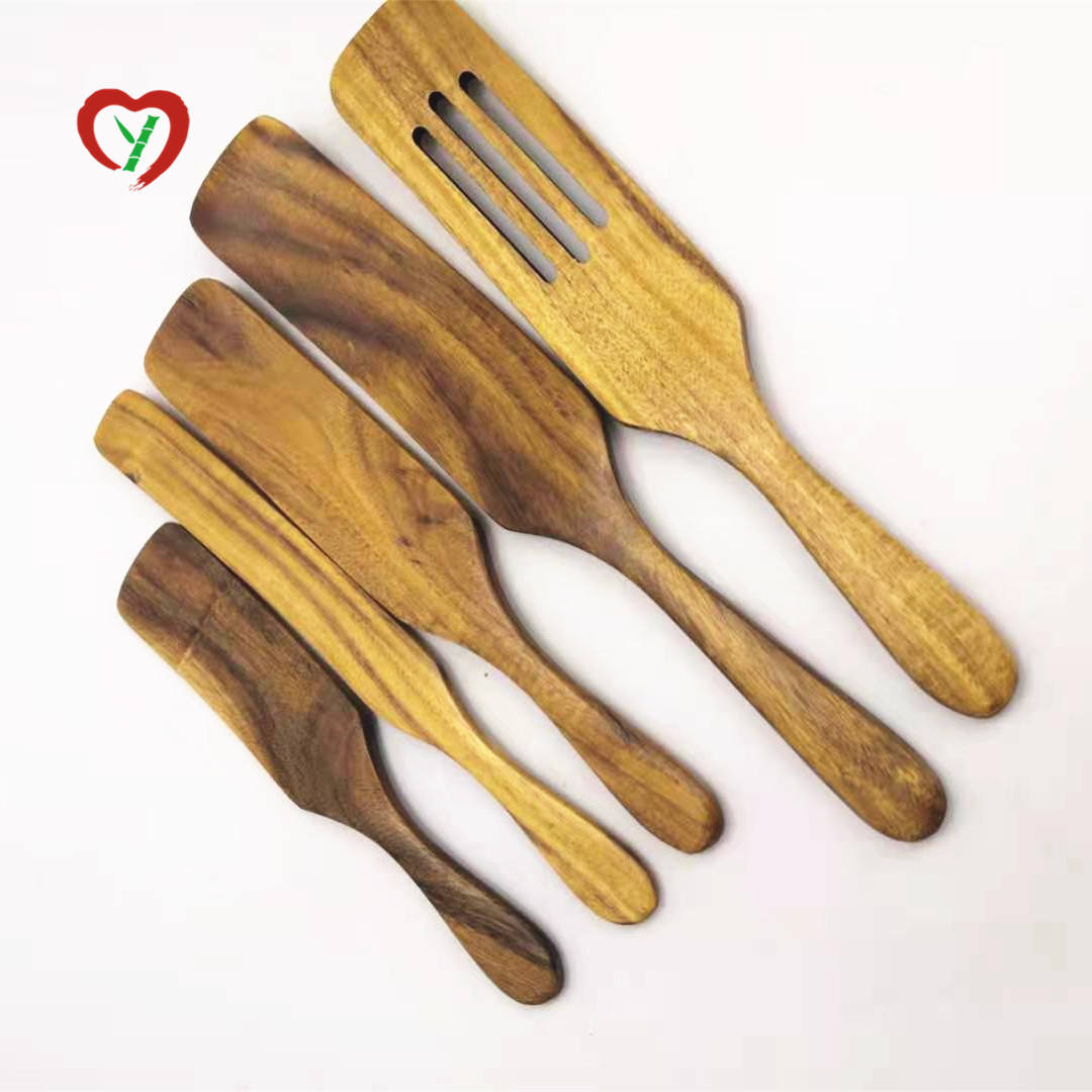 Handmade Custom Bamboo Acacia Wooden Spurtles Sets Spatula Stirring Kitchen Utensils Tools