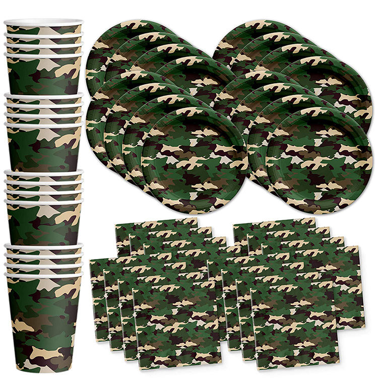 Camo Classic Birthday Party Supplies Set including Plates Napkins Cups Disposable Tableware Kit