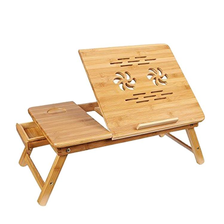 bamboo adjustable standing desk laptop computer stand laptop reading table for bed