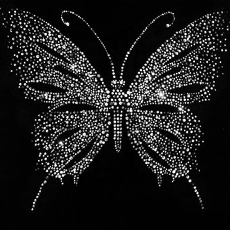 Custom Crystal AB Color Butterfly Hot Fix Rhinestone Transfer Motifs Iron On Applique Patches Transfer Designs For Shirt