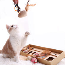 Custom Cute Wood 7 sets plush cat interactive toy Play Wand Feather cat teaser toy