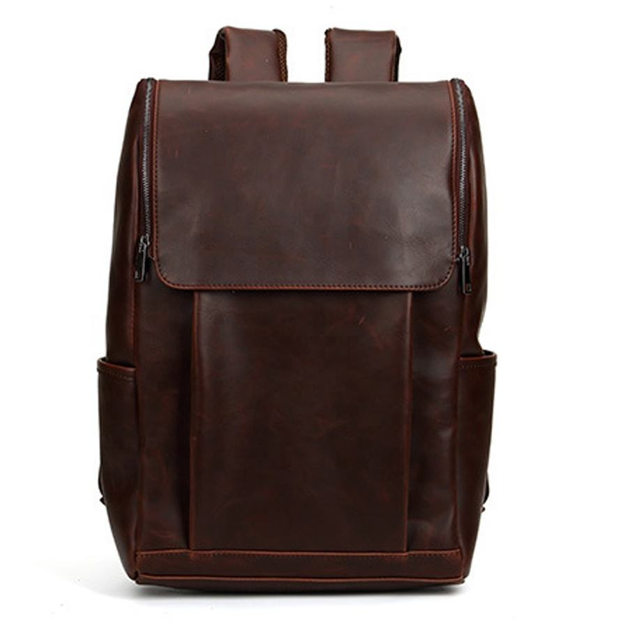 Men's Business Office Backpack Crazy Horse PU Leather School Travel Bags Korean Laptop Pack Women Vintage Travel Casual Rucksack