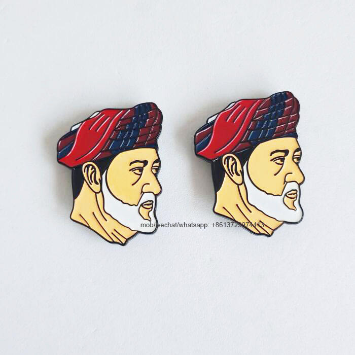 Omani new king ruler Sultan Haitham Bin Tarik metal enamel magnetic pin brooch badge for 2020 Oman 50th national day celebrating