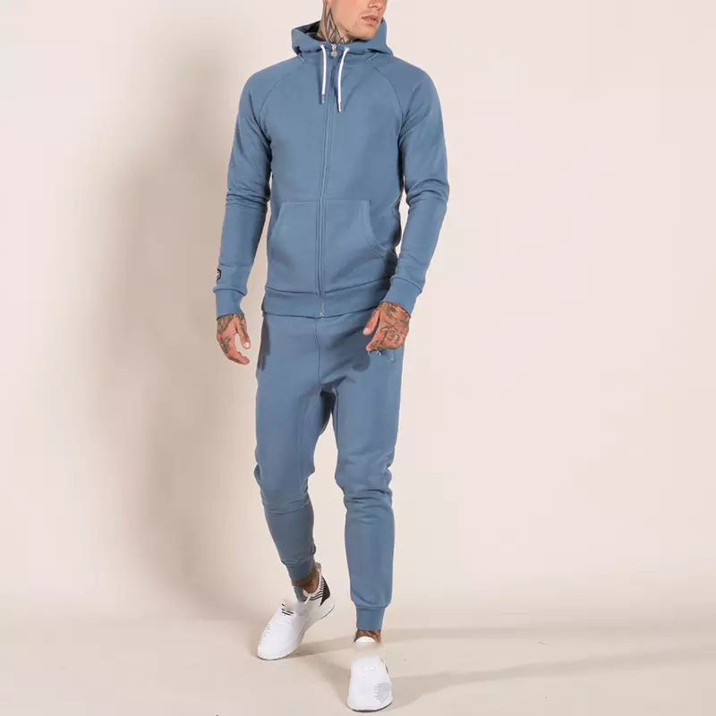 High quality light blue tracksuit skinny fit men fitness tech fleece tracksuits