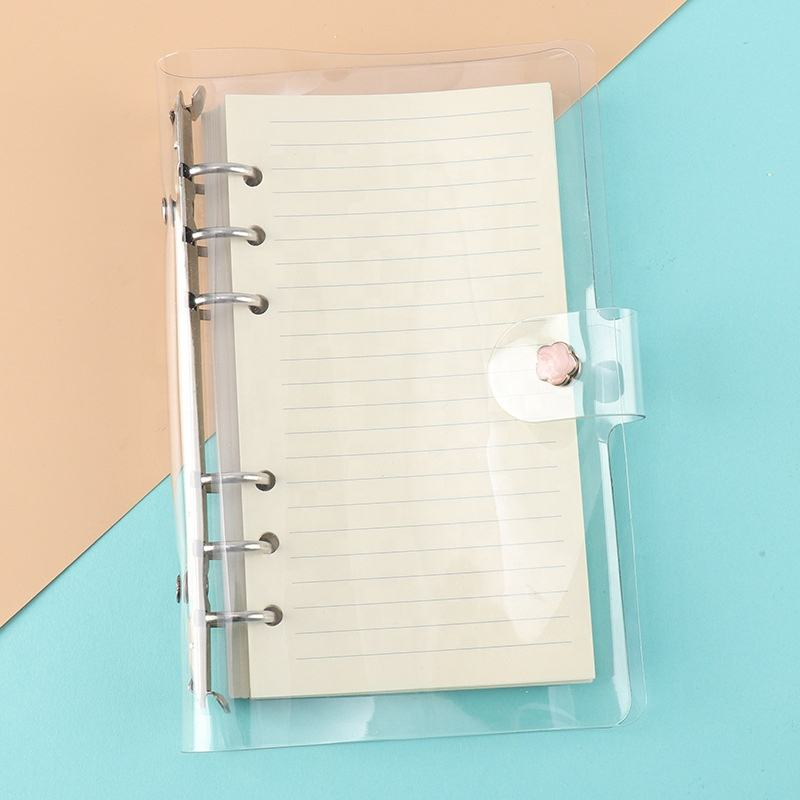 A6 Transparent Soft PVC 6Ring Loose Leaf File Folder Protector Notebook Binder Cover with Shiny Sequins and Snap Button Closure