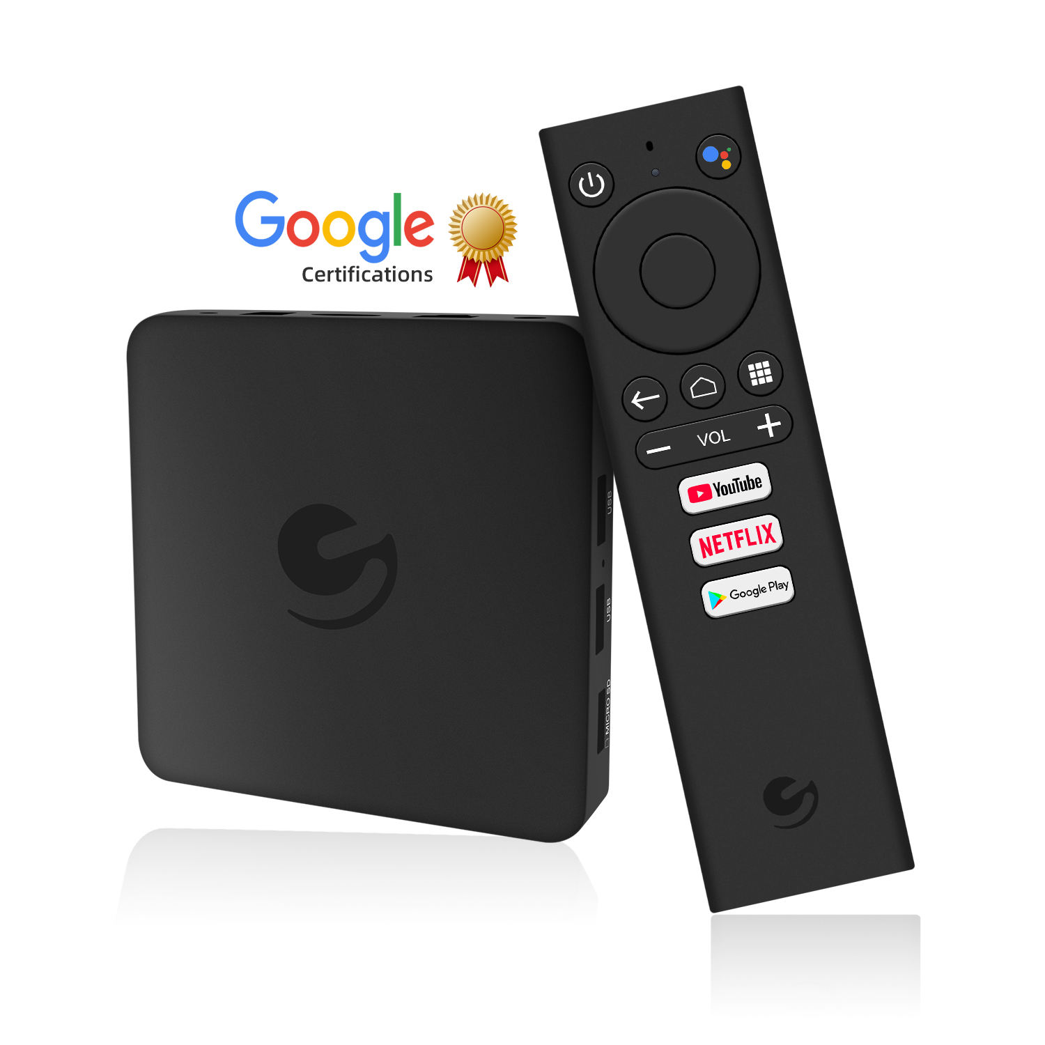 Ematic EN1015K google certified tv box 4K Netflix 2.4G / 5GHz WiFi google play android tv box with voice control