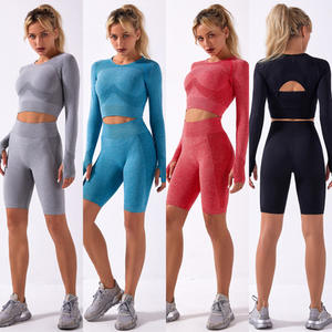 Beautiful Women Clothing Hot Sale Two piece Gym Fitness Seamless Women Yoga Short Set